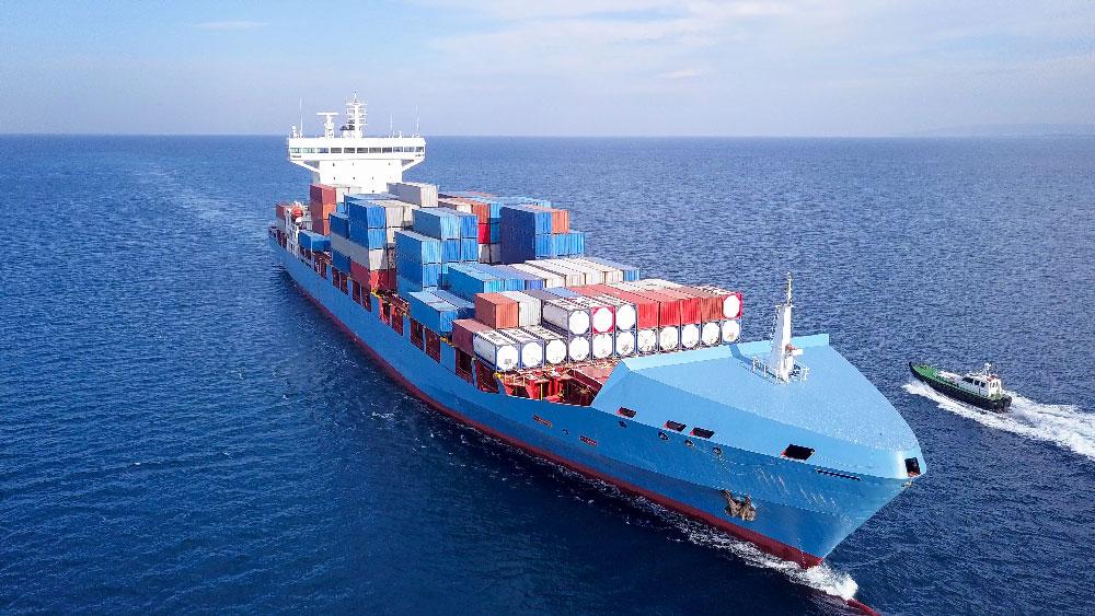 Cargo on a ship in the ocean